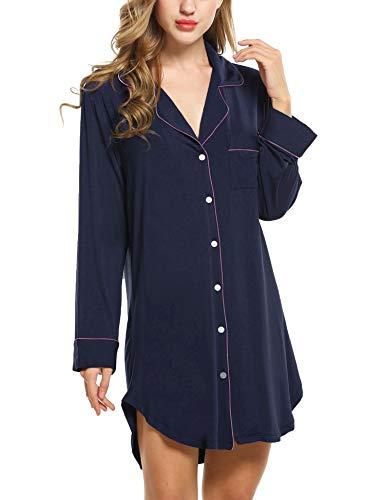 Damen Nachthemd Pyjama Negligee V-Ausschcnitt Nachtkleid Schlafshirt Langarm Modal Schlafanzüge Nachtwäsche Sleepwear Kleid, Langarm 1: Dunkelblau, XL
