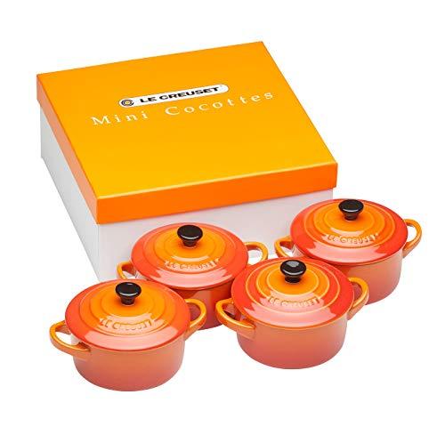 Le Creuset Mini-Cocotte/ Bräter-Set, 4-teilig, Rund, Je 200 ml, 10 x 5 cm, Steinzeug, Ofenrot