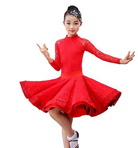 Mädchen-Spitze-Hülsen-Latein Tanzkleidung Standard-Kinder Latein-Wettbewerb Tanz-Kleid Kinder Salsa Standardtanz-Kostüme,Rot,130CM