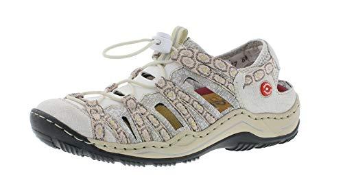 Rieker L0577 Damen Slipper,Schlüpfschuh,Slip-on,modisch,Freizeitschuh,white-silver/weiss/80,39 EU / 6 UK