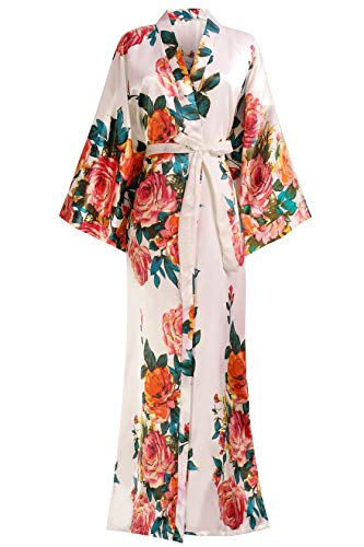 Coucoland Damen Morgenmantel Sommer Blumen Muster Maxi Lang Kimono Kleid Bademantel Damen Lange Robe Blumen Schlafmantel Girl Pajama Party 135 cm Lang (Pink)
