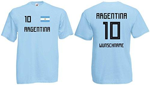 Argentinien Herren T-Shirt Trikot mit Wunschnamen & Nummer WM 2018blau-XL