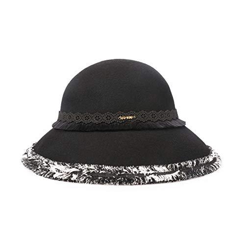 Wool Big hat eleganten Retro-Hepburn-Hut Wollfilzhut Hut weibliche warme britische Haarkappe schwarz