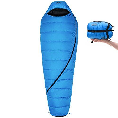 Qeedo Takino Winter Daunen-Schlafsack (2 Größen: M & L) / 0°C Komforttemperatur (4-Saison) / Mumienschlafsack extrem klein - blau [Large]