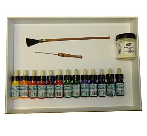 (18 teilig) Marmorier Lernset Wanne:31,5 x 44 x 5 cm | Marble | Marmorierfarben Set 13 x 30 ml von KOZA