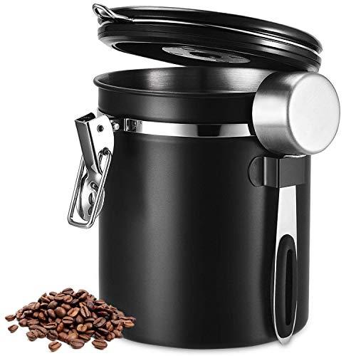 Beaspire Kaffeedose, Kaffeedose Luftdicht, Kaffeebehälter, Kaffeedose Edelstahl Aromadose Vorratsdose Vakuum Dose für Kaffeebohnen, Pulver, Tee, Nüsse, Kakao (Durchmesser:13cm / Höhe:15cm) (Schwarz)