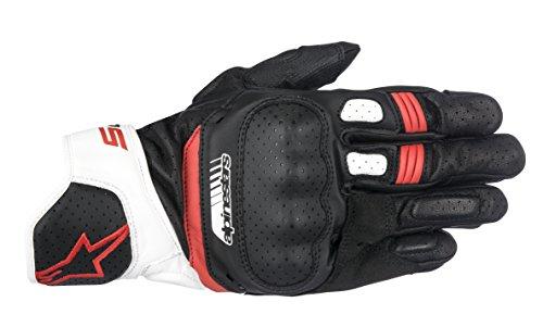 Alpinestars 1694360202 Motorrad Handschuhe, Schwarz/Weiss/Rot, M