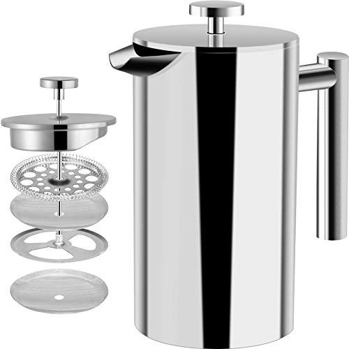 Utopia Kitchen [1 Liter / 1000 ml] Kaffeebereiter - Doppelwandige Edelstahl - Kaffeemaschine - Französische Kaffeepresse - Kaffeekanne - Französisches Pressensystem mit Edelstahlfilter