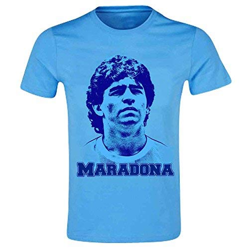 Maradona Diego (Napoli & Argentinien) Fußball T-Shirt Legend, Herren, Sky, himmelblau, XL