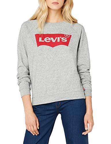 Levi's Damen Relaxed Graphic Crew Sweatshirt, Grau/Fleece Batwing Smokestack Htr 0, Large