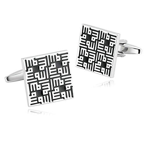 Epinki Mode Herren Edelstahl Manschettenknöpfe Silber Schwarz Quadrat Manschettenknopf Für Hemd Art Deco Stil Manschetten Knöpfe