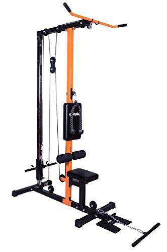 SportPlus Latzugturm, robustes Seilzugsystem mit leisen Umlenkrollen, Latzugstation für zu Hause, inkl. Latzugstange, Trizepsseil & Bizepsstange, Nutzergewicht bis 150kg, Sicherheit geprüft