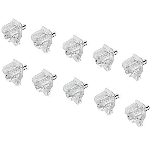 Gedotec Glas-Bodenträger 3 mm Regal-Bodenträger - H10347 | Halterung Stahl - Kunststoff transparent | Tablarträger für Holz und Glas | MADE IN GERMANY | 50 Stück - Fachboden-Träger für Holz & Glas
