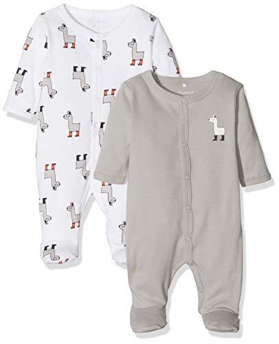 NAME IT Unisex Baby Schlafstrampler NBNNIGHTSUIT 2P W/F NOOS, Mehrfarbig (Weiß Bright White), 68