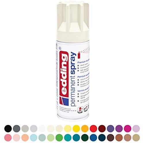 edding 5200 Permanent-Spray - creme-weiß matt - 200 ml - Acryllack zum Lackieren und Dekorieren von Glas, Metall, Holz, Keramik, lackierb. Kunststoff, Leinwand, u. v. m. - Sprühfarbe
