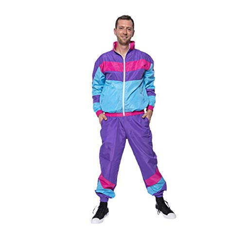 Kostümplanet 80er Jahre Kostüm Herren Trainingsanzug 80s Outfit Jogginganzug Style Mode Motto-Party Karneval Fasching Bad Taste lila Größe 52/54