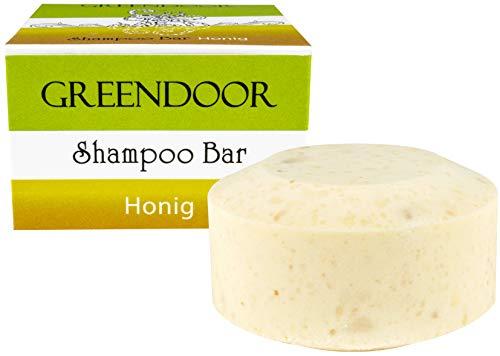 Greendoor Shampoo Bar Honig 75g, festes Haarshampoo ohne Palmöl, ohne Sulfate, Naturkosmetik Bio Shea, Bio Brokkolisamenöl, Aloe Vera, natürliche Haarpflege für trockenes Haar, Haare Natur Haarwäsche