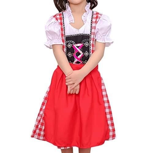 Bierfest Gitter Kleid Anzug Oktoberfest Kostüm für Mädchen Bayerisches Biermädchen Traditionelles Minikleid karnevalskostüme Vintage Elegant Deutsch Dirndl Maid Kostüm (XL, rot)