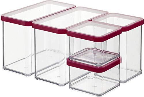 Rotho Loft - Starter Vorratsdose Premium Loft-5-teiliges, Kunststoff, Silikon, Transparent/Rote Dichtung, Set 5-teilig