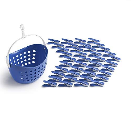 culiclean Soft Clips mit Korb (40 Stück mit Korb/Classic Blue-weiß, weiß-Classic Blue, Korb Classic Blue, Henkel weiß) Premium Wäscheklammern