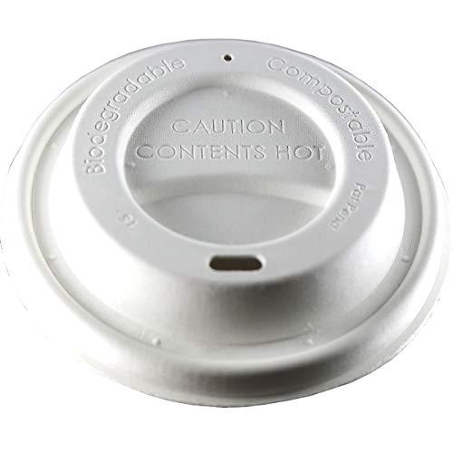 zi pac Earth Lid (R) Faserformdeckel für Heißgetränkebecher, Deckel für Kaffeebecher, Einweg, biologisch abbaubar, öko, umweltfreundlich, 90mm, weiß, 50 Stück, nachhaltig, kompostierbar