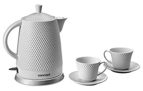 CONCEPT Hausgeräte RK-0040 Keramik Wasserkocher + 2 Tassen 1.5L 2200W