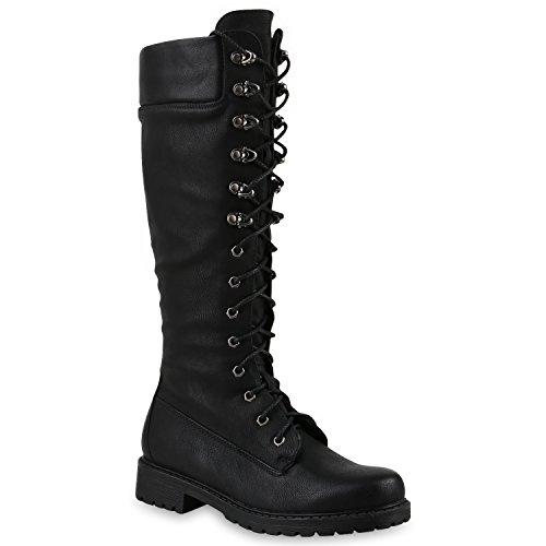 Damen Stiefel Profilsohle Blockabsatz Schnürstiefel Schuhe 145691 Schwarz 40 Flandell