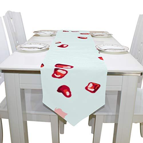 Yushg Rot Gemalte Granatapfel Samen Obst Kommode Schal Tuch Abdeckung Tischläufer Tischdecke Tischset Küche Esszimmer Wohnzimmer Haus Hochzeit Bankett Decor Indoor 13x90 Zoll