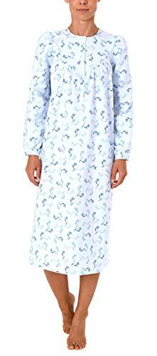 NORMANN WÄSCHEFABRIK Damen Finette Nachthemd fraulich mit Knopfleiste am Hals - auch in Übergrössen - 61885, Größe2:56/58, Farbe:blau