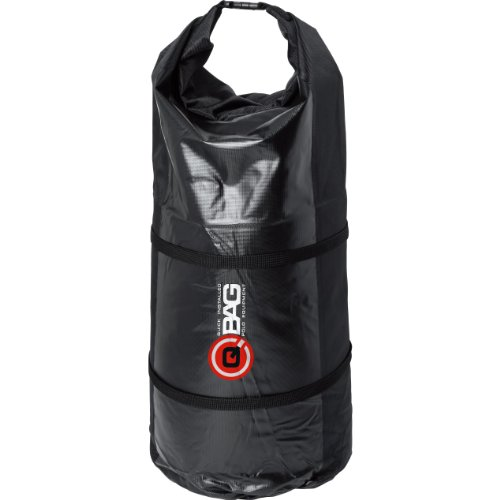 QBag Hecktasche Motorrad Motorradtasche Gepäckrolle wasserdicht 01, staubdicht, großes Hauptfach, inklusive Zwei Kompressionsgurte, variierbar in der Länge, Schwarz, 50 Liter
