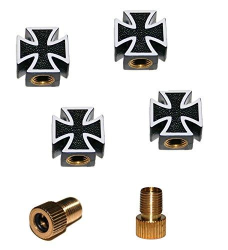 KUSTOM66 6er Ventilkappenset Iron Cross - Eisernes Kreuz (4X Ventilkappe + 2X Adapter) für jedes Fahrrad, Auto und Motorrad geeignet (Schwarz)