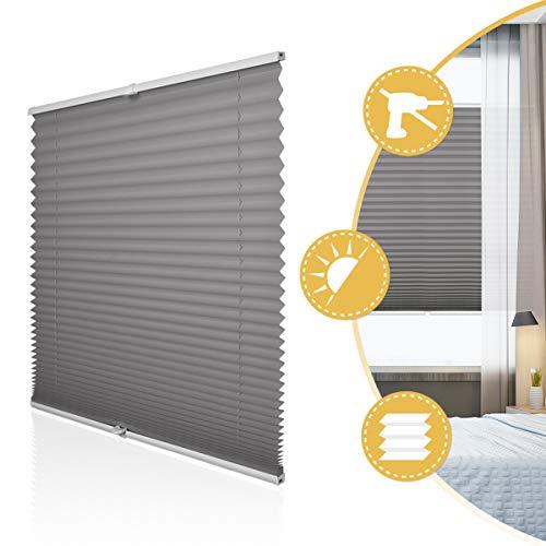 Deswell Plissee Rollo Jalousie ohne Bohren Klemmfix für Fenster & Tür Anthrazit 70 x 200 cm, Plisseerollo Stoff Sonnenschutz leicht zu montieren & Verspannt