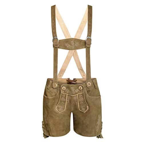 Almsach Damen Trachten-Mode Kurze Lederhose Resarl in Hellbraun traditionell, Größe:44, Farbe:Hellbraun
