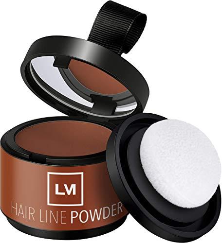 LEON MIGUEL Hair Line Powder - Ansatzpuder/Concealer | Haarverdichtung und Make-up zum Ansatz kaschieren | Wasserfest (ROTBRAUN)