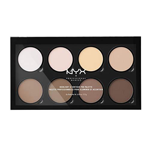 NYX Professional Makeup Highlight & Contour Pro Palette, Puder Konturen Kit, 8 verblendbare Matte und Perlmutttöne