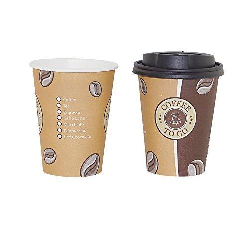Gastro-Bedarf-Gutheil 50 Pappbecher Coffee to go 0,3 L Top Becher mit Deckel in Schwarz