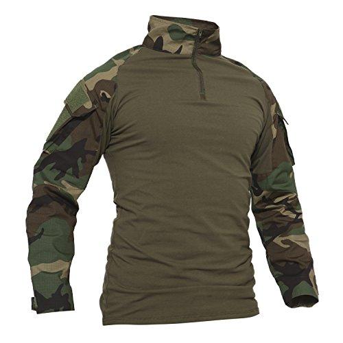 TACVASEN Camo Shirt Herren Outdoor Angeln Hemd Baumwoll Camouflage Cotton Sport T-Shirt Langarm Draussen Fishing Shirts
