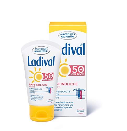 LADIVAL Empfindliche Haut Sonnenschutz Creme für das Gesicht LSF 50+ - Parfümfreie Sonnencreme ohne Farb- und Konservierungsstoffe - wasserfest, 50 ml