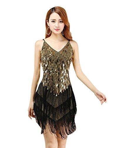 YiJee Damen Latein Salsa Quaste Pailletten Kleid Ballroom Wettbewerb Dancewear Schwarzes Gold