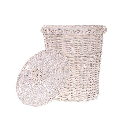 Mülleimer, Mülltonne aus Weide, Abfalleimer, weißer Müllkorb mit einem Deckel, Papierkorb