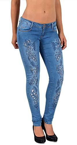 ESRA Damen Röhrenjeans Skinny Jeanshose mit Spitze Strass und Blumenstickerei bis Übergröße J53