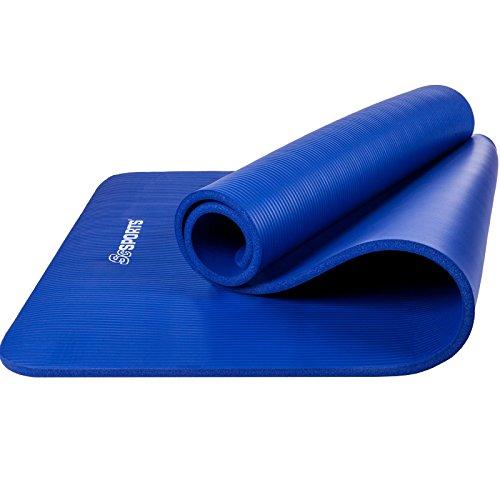 ScSPORTS® Gymnastikmatte dick & rutschfest, Yoga-Matte mit Schultergurt, 185 cm x 100 cm x 1 cm, universeller Einsatz im Fitnessstudio oder zu Hause (blau)