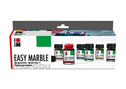 Marabu 1305000000087 - Easy Marble Starter Set, Marmorierfarbe zum kinderleichten Tauchmarmorieren von Kunststoff, Glas, Holz, Styropor und flächigen Marmorieren von Papier, 6 x 15 ml Grundfarben