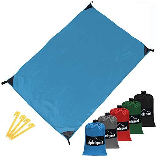 gipfelsport Picknickdecke - Outdoor Picknick Decke I Stranddecke, wasserdicht, waschbar, sandfrei I 200x140 cm groß I blau