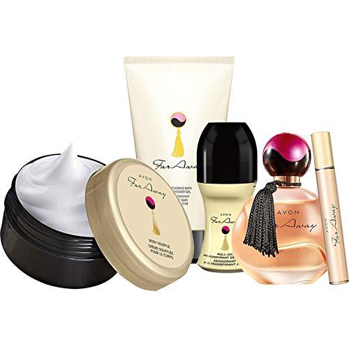 Avon Far Away 5tlg. Set Parfum/Duschgel/Körpermousse/Deoroller/Taschenspray Vanille/pudrig