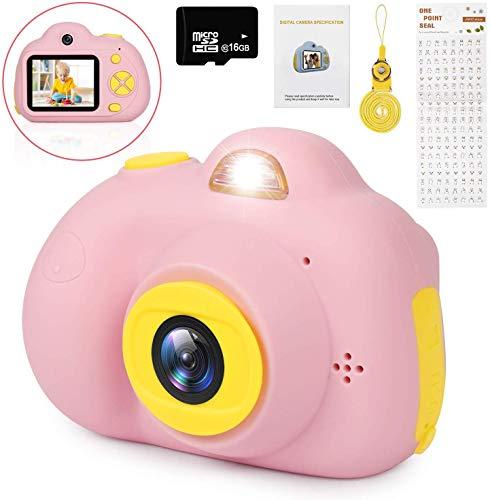 Kinderkamera - Digitale Kamera 4400 Fotos für Kinder 16 GB TF Karte 1080P HD Videofunktion Digitalkamera für Kinder 2 Objektive, 8MP, 2.0 Farbdisplay, Kinder Digitalkamera Deutsche Version (Rosa)