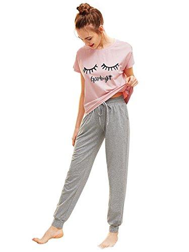 DIDK Damen Schlafanzug Set mit Slogan Kurzarm Shirt und Lang Schlafanzughose Sleepwear Pyjama Set, Rosa+grau, L