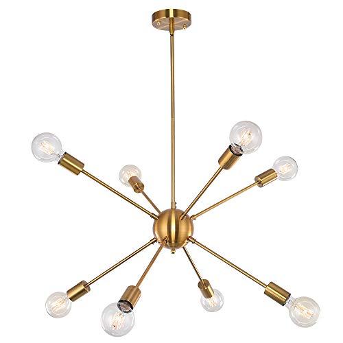 OYIPRO Sputnik Kronleuchter Pendelleuchte 8-Flammig Hängelampe Einstellbare Höhe 3x25cm E27 Lampenfassung Metall für Esszimmer Wohnzimmer Schlafzimmer Küche Restaurant