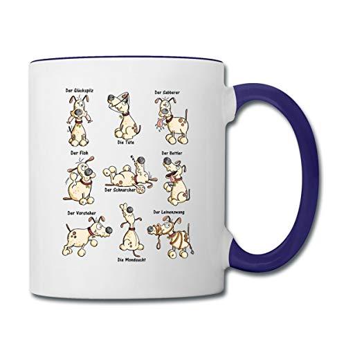 Witziges Hunde Yoga Comic Tasse zweifarbig, Weiß/Kobaltblau