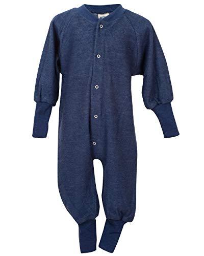 Cosilana, Einteiler Schlafanzug ohne Fuß, 100% Wolle (68, Marine)